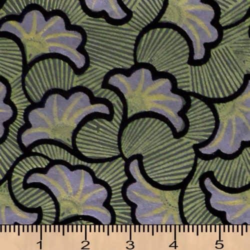Indian Flocked -  Ginkgo Pattern - Gold, Lavender and Black on Dark Green