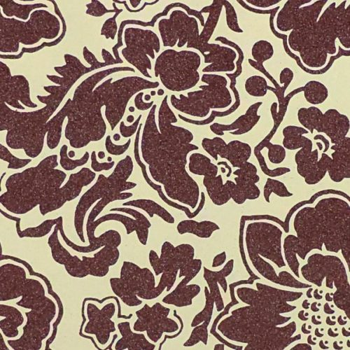 Indian Glitter - Large Damask Floral - Burgundy on Cream